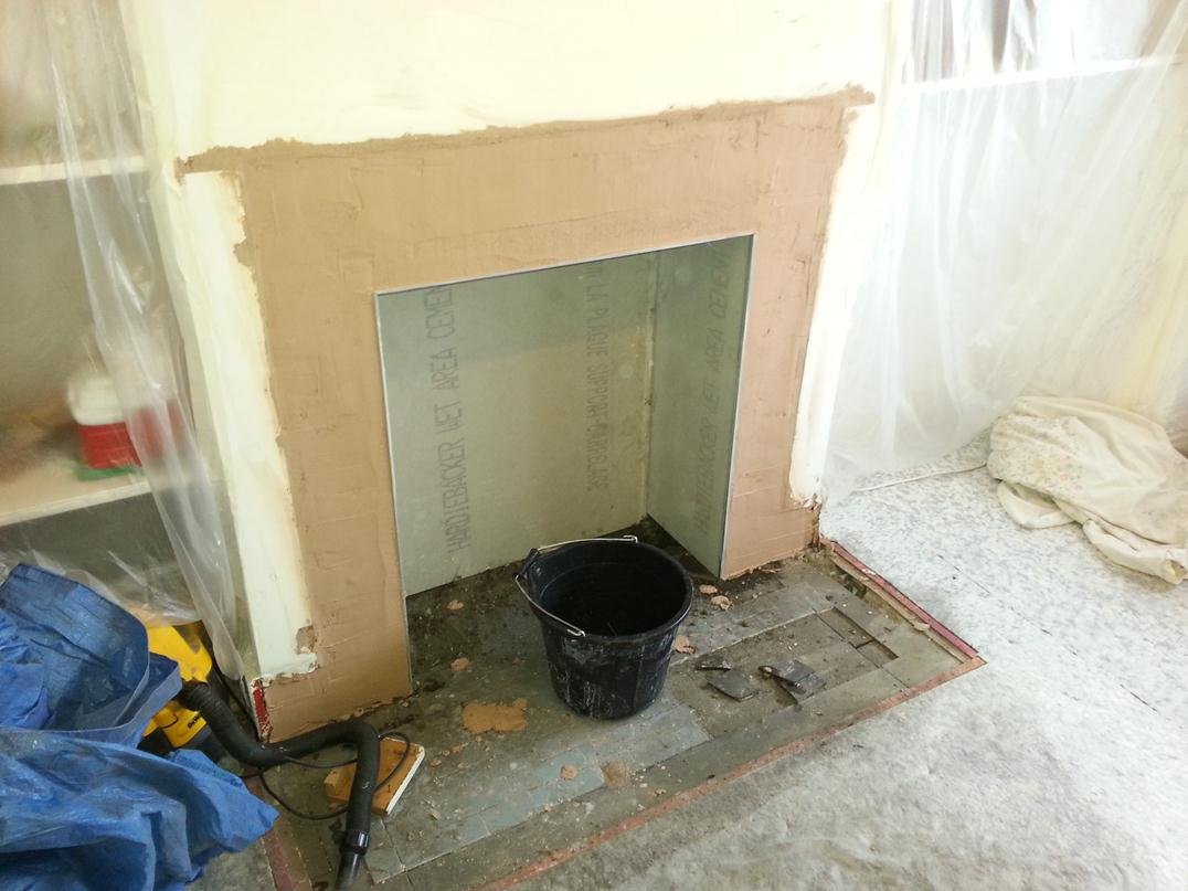 Cement Board For Fireplace Part - 31: Recess Boarded With Cement Board.